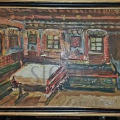 TABLOU, ELENA PETRAGLU NICULESCU ( DESLIU ) , INTERIOR TARANESC, U/C, 1958