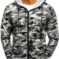 Bluză pentru bărbat cu glugă și fermoar camuflaj-gri Bolf DD129