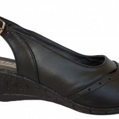 Sandale dama cu talpa ortopedica joasa Ninna Art 2 negru