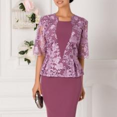 Rochie Gratiela lila cu peplum si dantela la bust