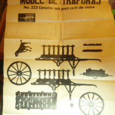 Model de Traforaj interbelic- Carucior mic Port-Carti de Vizita ,dim.=60x42cm