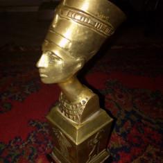 Sculptură deosebita din alama masiva reprezentând Nefertiti