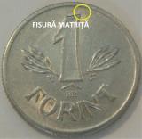 Moneda 1 FORINT - RP UNGARA / UNGARIA, anul 1981 *cod 1058 A.UNC+ EROARE MATRITA, Europa, Aluminiu
