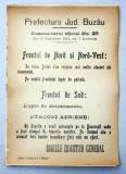 Prefectura Jud. Buzau Comunicatul oficial Nr. 29 de pe front din 12 Septembrie 1916