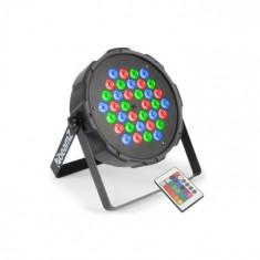 Beamz FlatPAR, 36 x 1W, reflector PAR, RGBW, LED-uri, DMX, IR, telecomandă