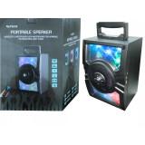 BOXA ROTECH PORTABILA WIRELESS SI MP3 CU MICROFON PENTRU KARAOKE, RADIO FM SI SPECTACOL DE LUMINI.