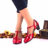Pantofi dama casual rosii din piele naturala toc 4cm - NA103