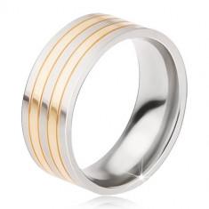 Inel din titan - inel lucios, argintiu şi auriu, dungi alternative - Marime inel: 67