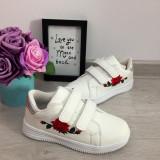 Adidasi albi cu scai brodati floare piele eco pantofi sport fete 34