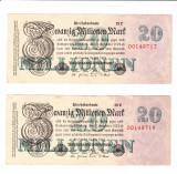 Bancnote Germania 20000000 mark 1923, 2 buc., serii consecutive