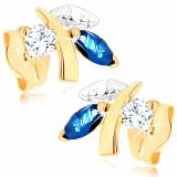 Cercei din aur 375 - ramură strălucitoare cu frunze, safir albastru, zirconiu transparent
