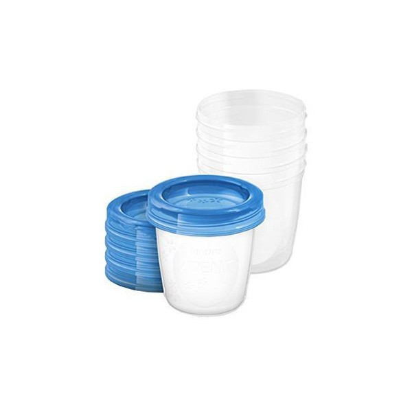 Set 5 recipiente pentru stocarea laptelui 180 ml 0 luni+ Philips Avent SCF619/05, Transparent