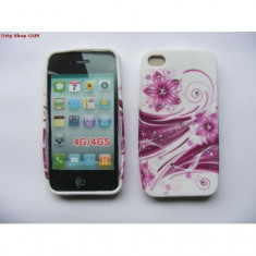Husa silicon cu model Apple iPhone 4/4S FLOWER Pink bulk
