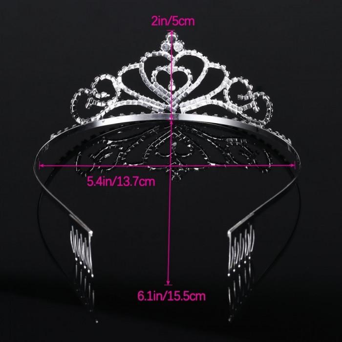 Tiara, coroana de printesa, din cristal, accesoriu de par, Frcolor