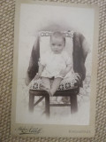 Foto CDV carton, veche,  atelier P. Adleff, Kronstadt/ Brasov, copil