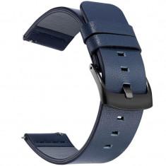 Curea piele naturala, compatibila Samsung Gear S3, telescoape Quick Release, 22mm, Blue