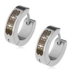 Cercei argintii din oțel - cercuri cu model gravat