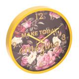 Ceas de perete Make Today Amazing, 30 x 4 cm, model floral