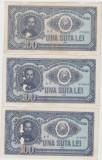 ROMANIA 3 X 100 LEI 1952 UZATE PLASTIFIATE CONSECUTIVE