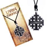 Colier din șnur - pandantiv din metal, cruce de la Ierusalim