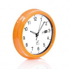 Ceas de perete, vintage, metalic , Evviva, portocaliu, 35 cm