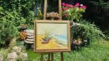 "PICTURA, superb TABLOU nou,""Barci la mal"", pictor roman, Peisaje, Ulei, Impresionism"