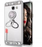 Husa silicon oglinda , inel si pietricele Samsung  J4 Plus , J4+ , Argintiu, Alt model telefon Samsung