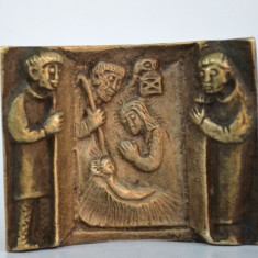 Iconita veche germana catolica din alama turnata - Nasterea Mantuitorului