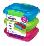 Set 3 cutii alimente plastic color Sistema Lunch 200 ml