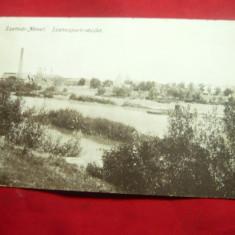 Ilustrata Satu Mare - pe malul raului Somes circulat 1916