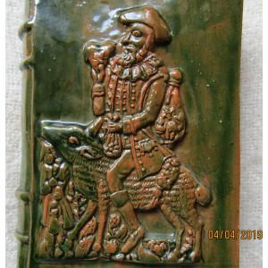 Recipient ceramic  Don Quijote. semnat si datat 1980.D:22/15/5cm/1362gr.