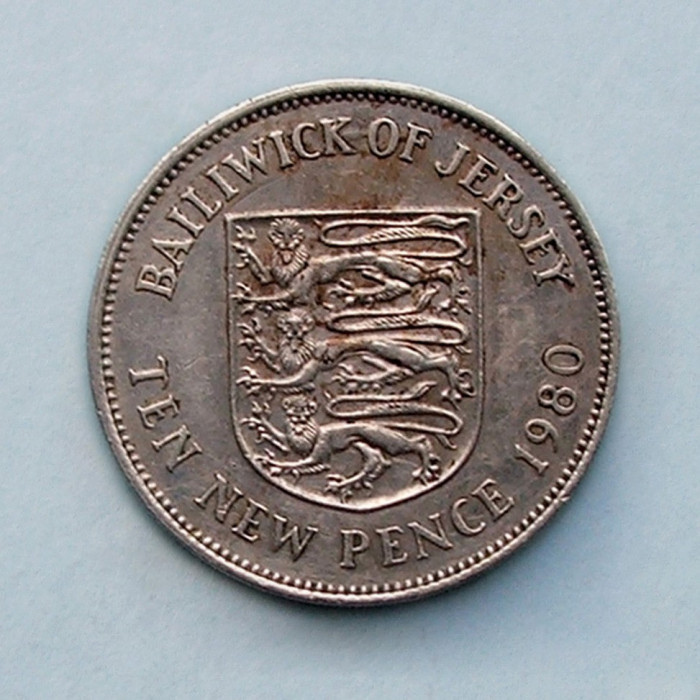 JERSEY  -  10 New Pence 1980