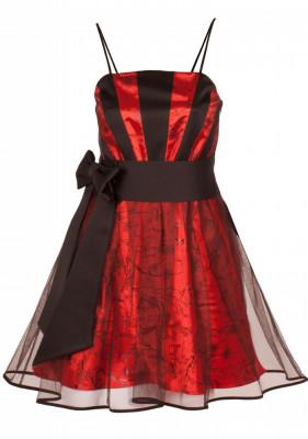 Rochie de seara, scurta, din satin cu imprimeu floral foto