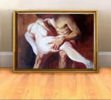 Pictura Nud cuplu, tablou pictat femeie nud si barbat nud, tablou pictat manual