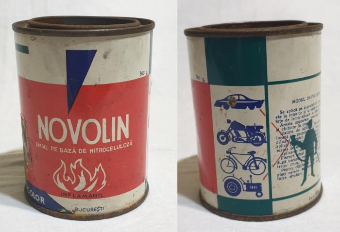 Cutie tabla reclama - veche comunista de colectie NOVOLIN pt Auto Moto Biciclete