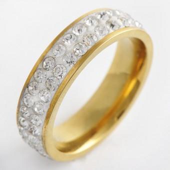 Inel/Verigheta Shine Crystals inox placat aur 18K