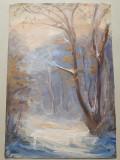 Tablou ulei pe panza peisaj de iarna