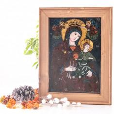 Maica Domnului imparatită _Icoană pictată pe sticlă