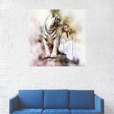 Tablou Canvas, Leul alb cu stapana, Artistic - 20 x 20 cm