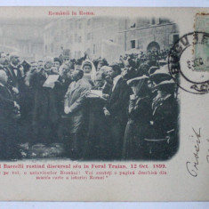 ROMANII LA ROMA - MINISTRUL BACCELLI ROSTIND DISCURSUL SAU IN FORUL TRAIAN 12 OCT. 1899 , ROMA , CARTE POSTALA ILUSTRATA , MONOCROMA , 1901, CLASICA*