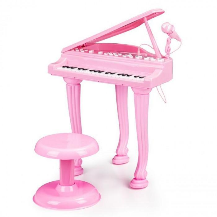 Set Pian de jucarie pentru copii, cu microfon de karaoke si scaun incluse, cablu Jack 3.5mm, roz pink