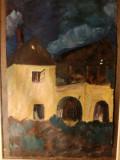 Tablou Casa veche, ulei pe hartie, semnat C.P., 14x20 cm, Peisaje, Realism