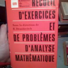 R'Ecueil D'Exercices et de Problemes D'Analyse Mathematique – B. Demidovitch