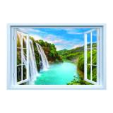 Cumpara ieftin Sticker fereastra fantezie 3D, 130 x 85 cm, cascada munte rau