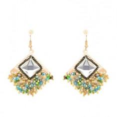 Cercei handmade romb cu cristal si margele, CCF-50, multicolor