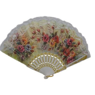 Evantai fashion cu design floral multicolor, realizat din panza foto