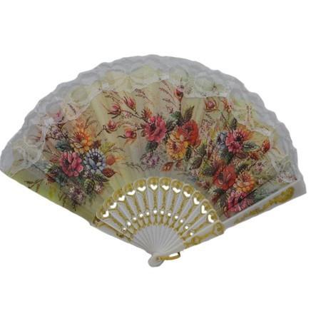Evantai fashion cu design floral multicolor, realizat din panza