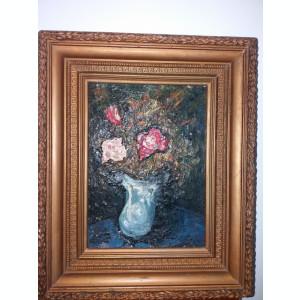 Tablou Vechi - posibil autor mare -rama superba - Vaza cu flori (79)