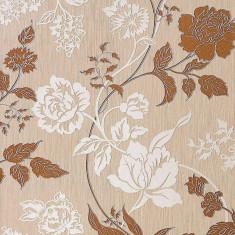 Tapet floral maro cu finisaj metalic evidentiat 116-24