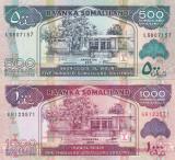 Somaliland 500,1 000 Shilings Set 2011,2015 UNC